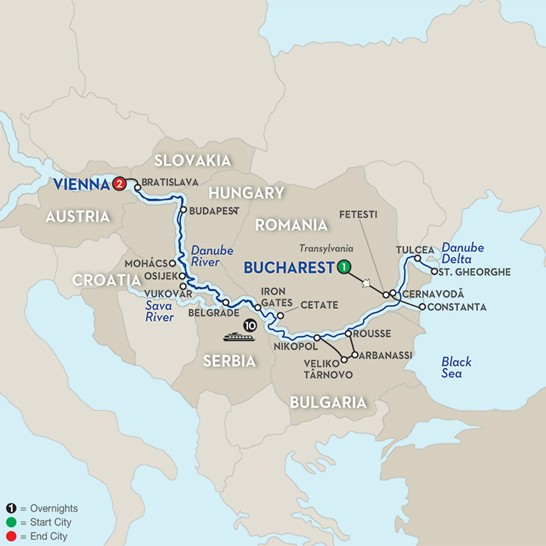 Blue Danube To The Black Sea WB By Avalon Waterways - Danube river location on world map