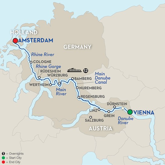 Major Rivers In Europe Map.Tours Of Europe Multi Country Tours And River Cruising