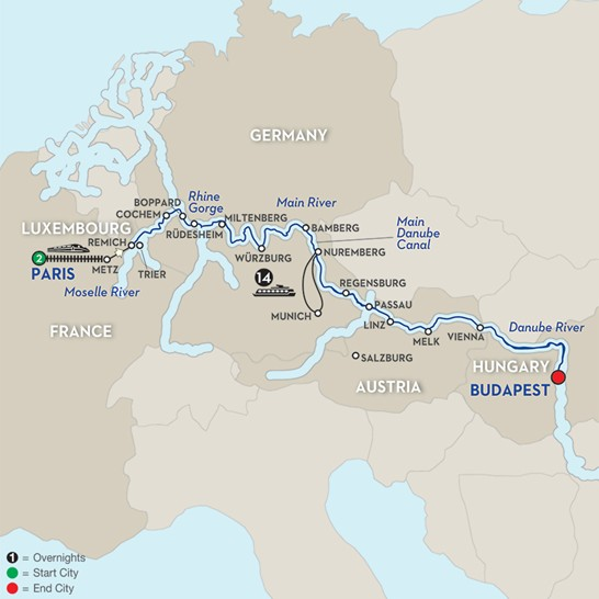 Danube River Map Of Europe.Tours Of Europe Multi Country Tours And River Cruising