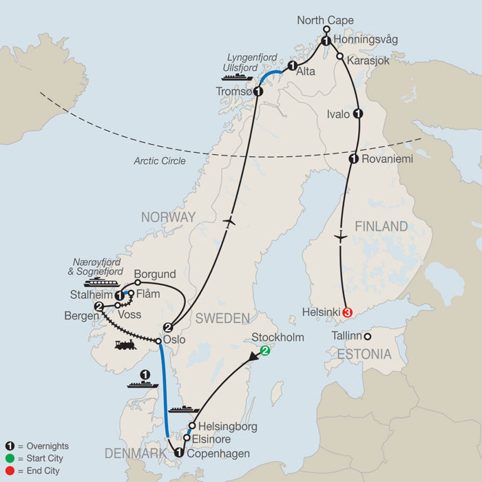 Russia And Scandinavia Tours Northern Europe Tours - Sweden map arctic circle