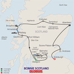 CLICK HERE for GLOBUS Bonnie Scotland MAP!