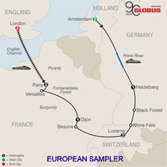 CLICK HERE for GLOBUS European Sampler MAP!