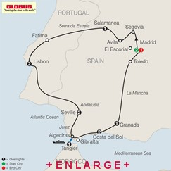 CLICK HERE for GLOBUS Iberian Vacation MAP!