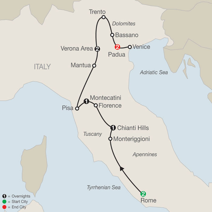 Map Of Italy Showing Venice.Tours Of Italy And Greece Italy And Greece Tours