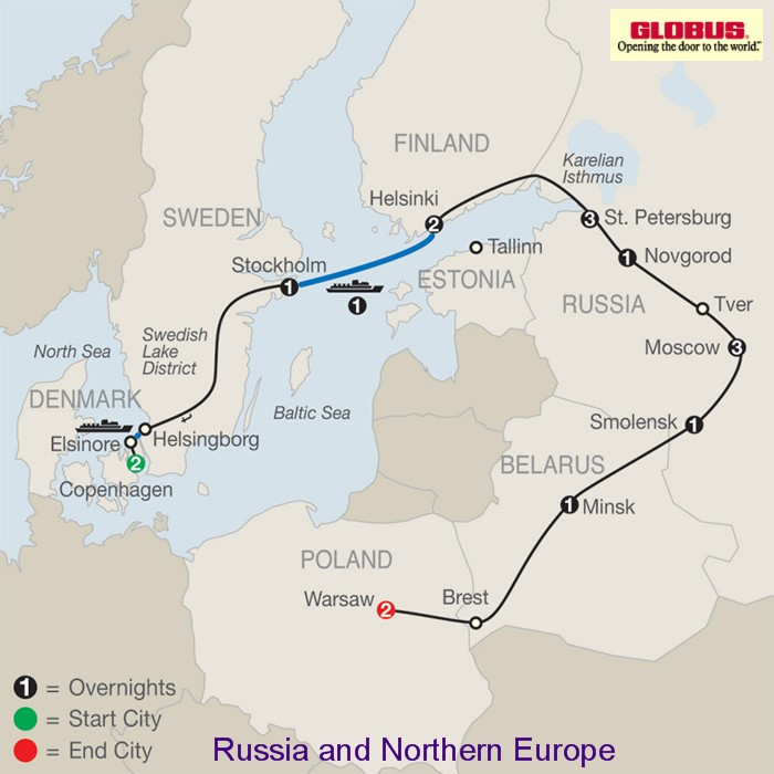 Russia and northern europe 2015 2016 by globus tours russia tours click here for globus russia and northern europe map publicscrutiny Image collections