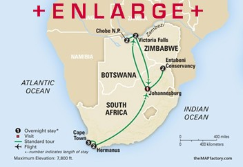 CLICK HERE for Collette EXPLORING SOUTH AFRICA, VICTORIA FALLS AND BOTSWANA MAP!