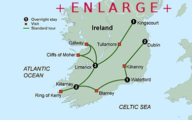 CLICK HERE for Collette Vacations Shades of Ireland MAP!